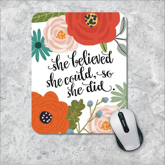 Quote Mousepad She Could Mouse Pad Watercolor by MousePadCenter