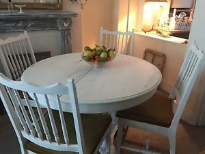 Shabby Chic Vintage Stag Solid Oak Extendable Table And Chairs  | eBay
