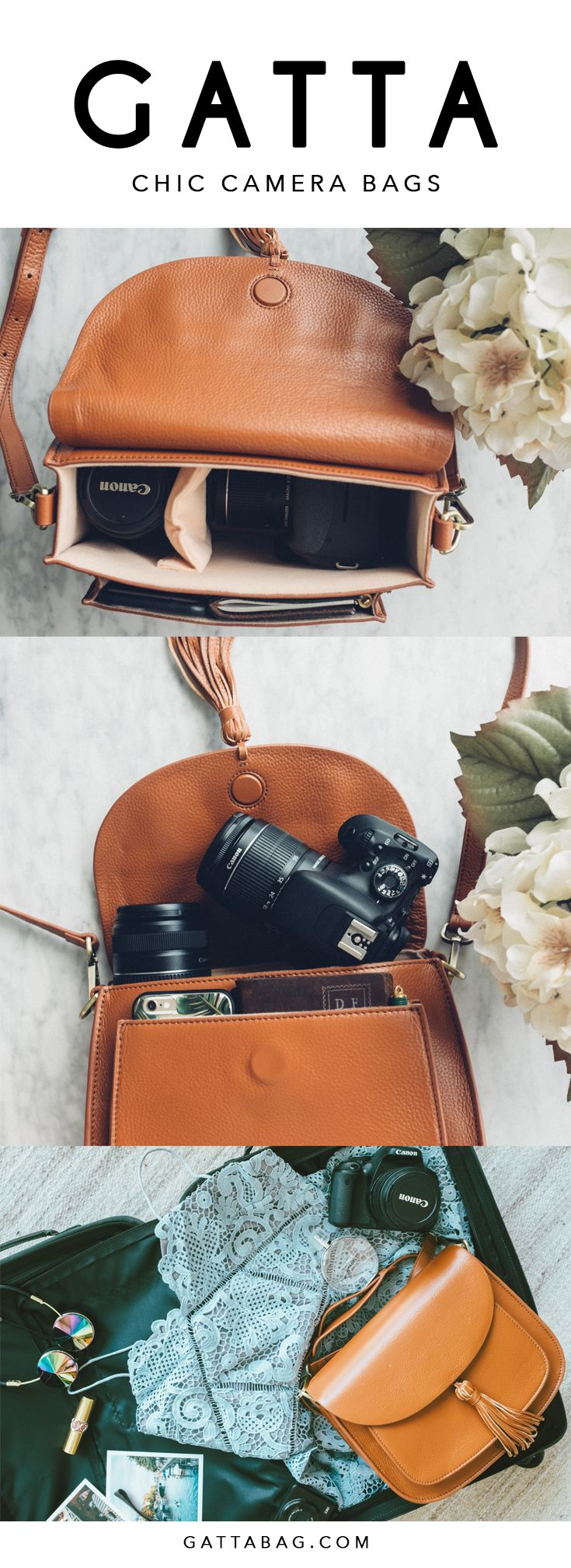 The lightweight camel brown camera bag is perfect for wanderlusters' long adventures without adding extra weight to their shoulders. Fashionable camera bags for women. Camera bag fits DLSR and Mirrorless | GATTA BAG