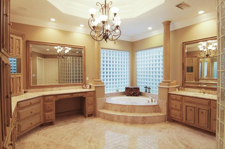 Found my master bathroom!!! Luxurious Master bathroom with marble flooring and countertops!  His and her sinks, huge oversized walk in closet, whirlpool jacuzzi tub, four head shower!