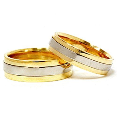 18k Gold & 950 Platinum Two Tone Wedding Band New Set, Adult Unisex