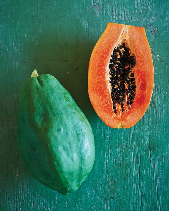 Papayas are available year-round and best gauged by color-- make sure they're more yellow than green. If youfind papayas that are still very green at the grocery store, let them ripen naturally, ideally in a warm spot without direct sunlight.