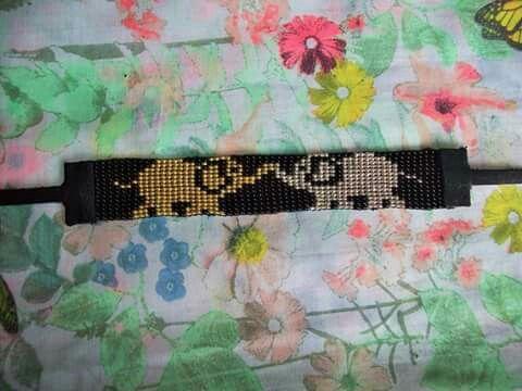 Bracelet tissé perles miyuki finition cuir