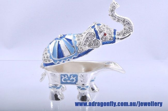 "Crystal bling Elephant ""Surprise Gift"" Trinket Jewellery Box (packaged)"