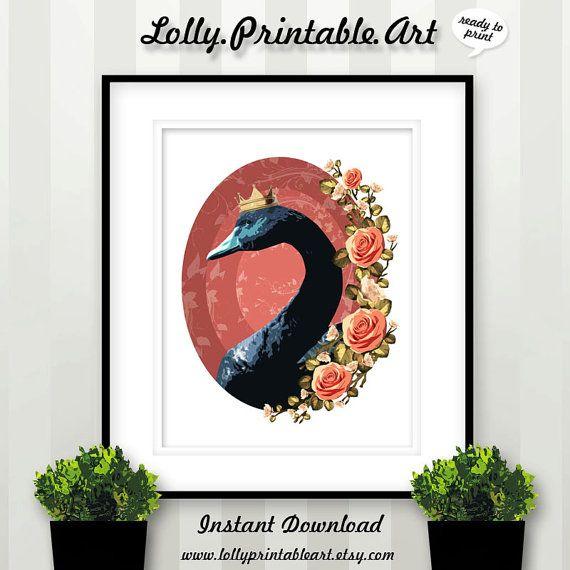 Unique Printable Art (Black Swan Floral) by LollyPrintableArt