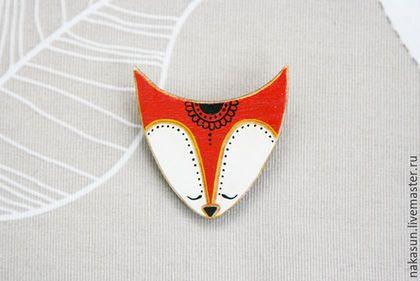Купить Брошка Милая лиса - лисица, лиса, рыжий, серый, узор, брошка, брошь, значок