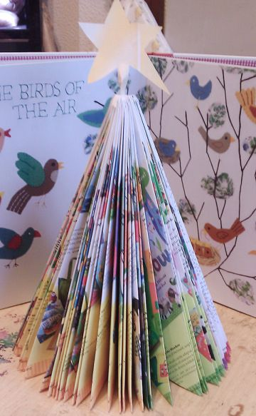 Make a Christmas Tree from an old Barefoot Books catalog.  Learn how from this tutorial:http://www.barefootblog.co.uk/2013/11/folded-christmas-trees-recycled-craft-tutorial/
