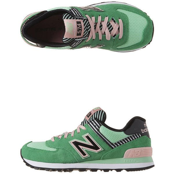 New Balance - Wl574 B Trainers ($42) ❤ liked on Polyvore featuring shoes, sneakers, green pink, pink sneakers, new balance, cushioned shoes, new balance trainers and green shoes