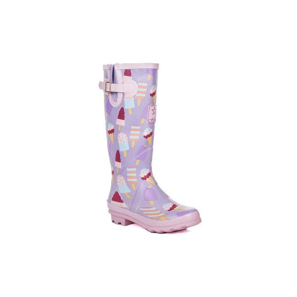Spylovebuy IGLOO Knee High Flat Festival Wellies Rain Boots - Ice... (36 AUD) ❤ liked on Polyvore featuring shoes, boots, pink, wellington boots, women, cream boots, pink knee high boots, flat rain boots, rubber boots and pink rain boots