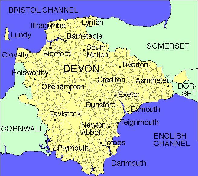 devon england | Map of Devon England