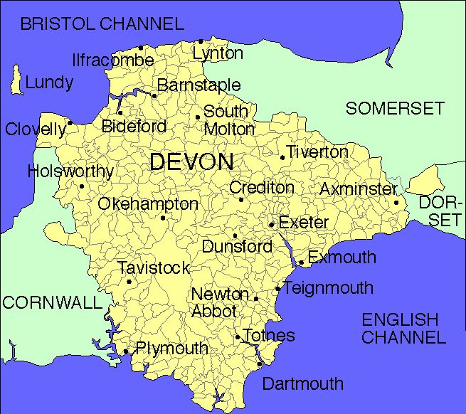devon england | Map of Devon England