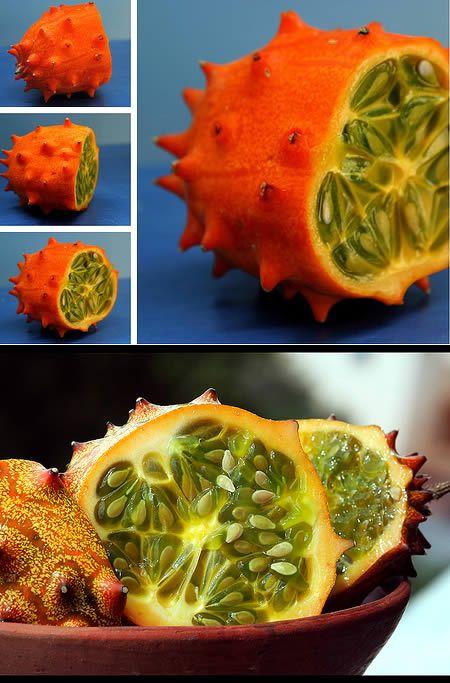 【ツノニガウリ】(ツノメロン、キワノとも)   アフリカ原産の果実。ニガウリ(ゴーヤー)と は別の種類。あまり甘くは無いようだ。カリフォルニアやニュージーランドで栽培されてい る。形状が面白いため料理の装飾などにも使われる。