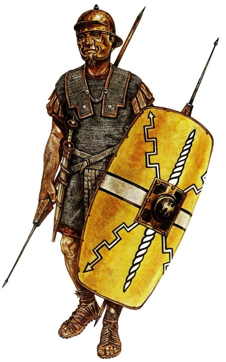 "Roman legionary. From John Warry's ""Warfare in the ancient world"", illustration by Jeff Burn"