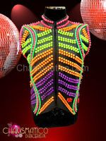 High Neck Neon studded rainbow Gay Pride Diva Showgirl's uniform vest