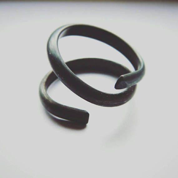 Black Twist. Black oxidized silver ring silver twist ring