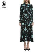 Женщины Vestidos Европейский Стиль Элегантный Линия 2016 Мода Повседневная Марка Дизайнер Длинным Рукавом Свободные Плиссированные Платья W6010(Hong Kong)