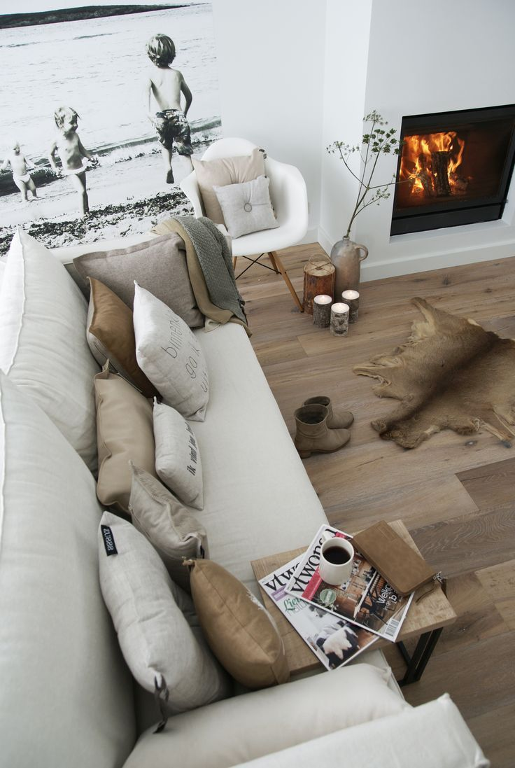 photo wallpaper, natural palette, fireplace. Via expensivelife™