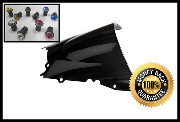 [Visit to Buy] Black Motorcycle Windshield Windscreen For Yamaha YZF R6 1998 1999 2000 2001 2002 Come With Windscreens Bolts #Advertisement