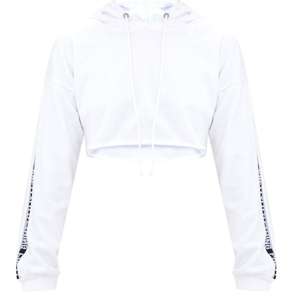 Petite White PLT Cropped Hoodie ($28) ❤ liked on Polyvore featuring tops, hoodies, hooded sweatshirt, white hooded sweatshirt, cropped hoodies, petite hoodie and white hoodies