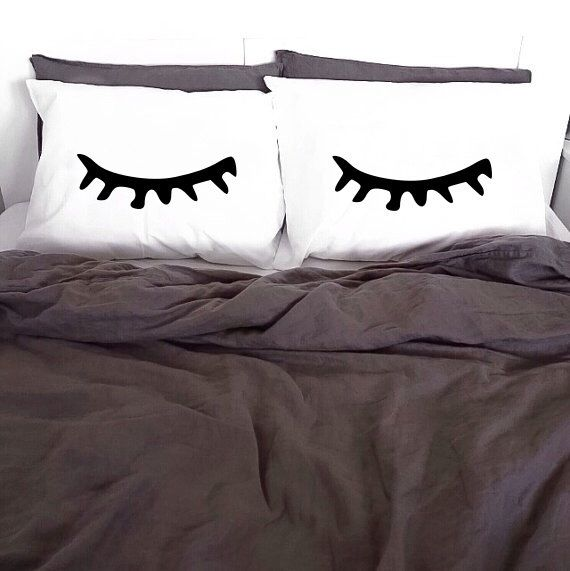 Pillowcases Sleepy Eyes White Pillow cases 100% Cotton Printed Pillows Gift Closed Sleeping Eyes Lashes Pillow Case Set Cover KYOUSTUFF by KYOUSTUFF on Etsy https://www.etsy.com/listing/257282746/pillowcases-sleepy-eyes-white-pillow