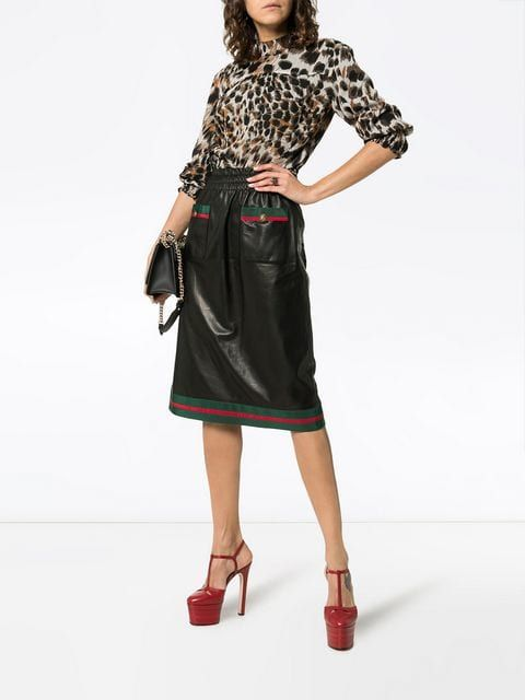 1fe3d3f6a Gucci Two Pocket Web Trimmed Leather Skirt   SKIRTS   Leather Skirt ...