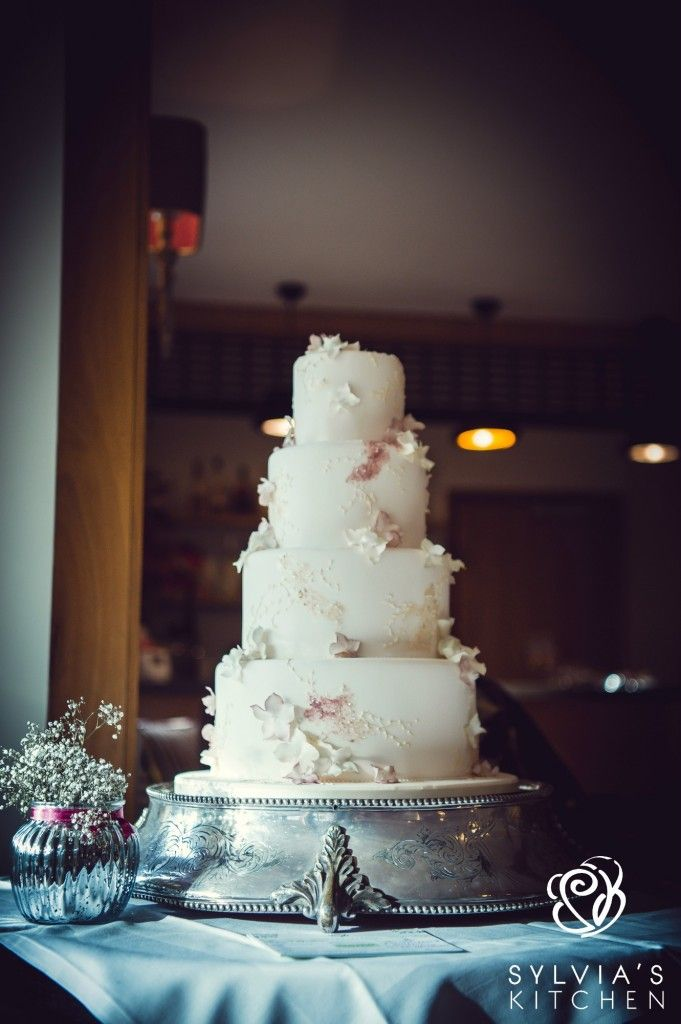 www.sylviaskitchen.co.uk Four tiered wedding cake at The English Wine Centre, Alfriston, East Sussex