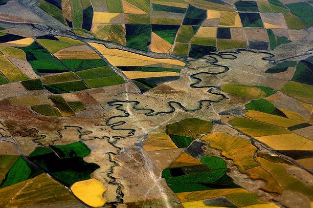 Aerial view over Ethiopia's agricultural fields