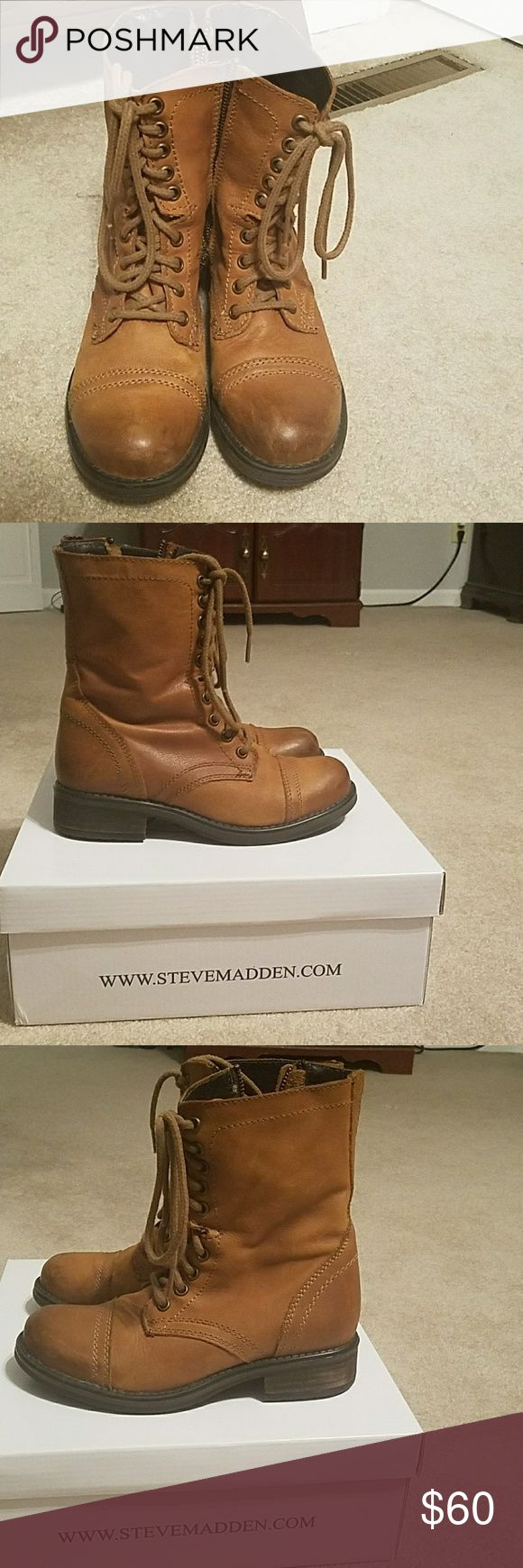 Steve Madden Troopa 2 combat boots size 6 with box Barely worn Steve Madden Troopa 2 combat boots size 6. They have normal wear on the toes from the few times I wore them. It Comes with original box and the color is Cognac. Offers Welcomed 😊 Steve Madden Shoes Combat & Moto Boots