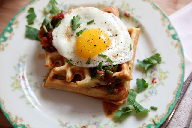 Savory Cornmeal and Chive Waffles with salsa and eggs by joythebaker #Waffles #Savory_Waffles #joythebaker