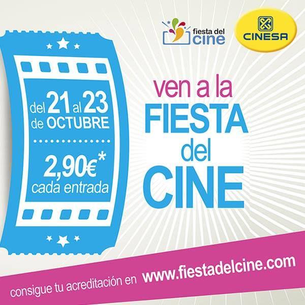 ¿Te quieres unir a la fiesta y disfrutar del mejor cine por solo 2,90€? Los días 21, 22 y 23 de Octubre, en Cinesa Zubiarte podrás ver todas las películas que tu quieras por sólo 2,90€ la entrada. ¡Solo tienes que sacarte la acreditación que encontrarás en www.fiestadelcine.com!