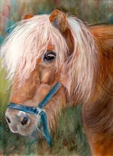 "Daily Paintworks - ""9x12 Shetland Pony Tan Horse White Mane Watercolor Penny Lee StewArt"" - Original Fine Art for Sale - © Penny Lee StewArt www.pennyleestewart.com, www.pennystewart.net, www.craftlady.com"