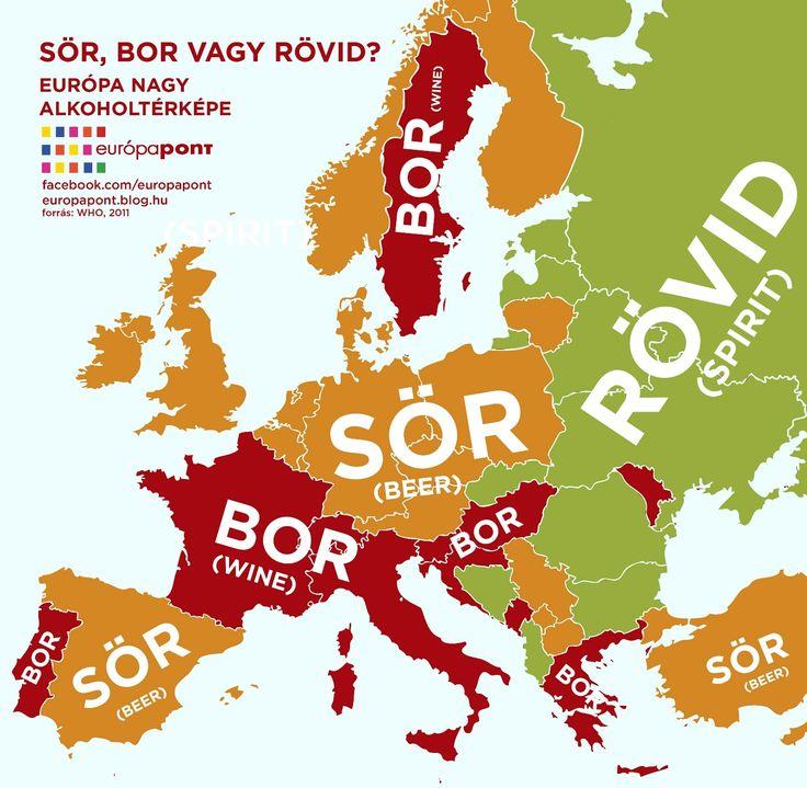 Európa nagy alkoholtérképe