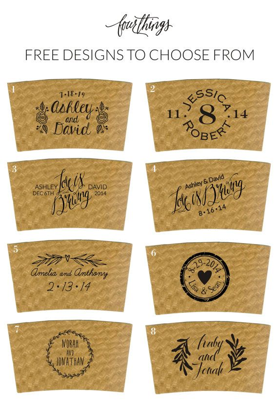 Perfect for the coffee loving couple! Surprise your guests with printed cardboard coffee sleeves at your hot chocolate or coffee and tea bar!  ►►►Quantities and prices of sleeves are in the options section ◄◄◄  *PLEASE READ BEFORE PURCHASING*  ● Made with recycled paper ● Fits most 12-20 cups. Same size as Starbucks sleeves just a smidgen taller. (if a Starbucks sleeve fits your cups these will too!) ● Designs 1-8 in third picture are included! Please specify which number youd like ● Custom…
