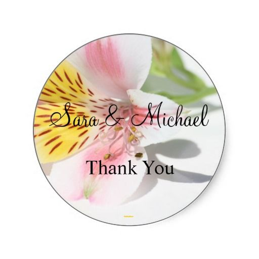Tropical flower wedding thank you label