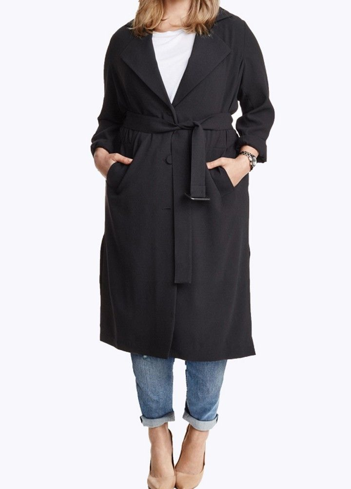Cheap Array Array Women Longline Coat Single Breasted Lapel Turn-Down Collar Pockets with Belt Online Shopping | Tomtop
