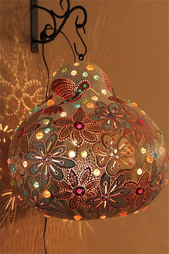 GARDEN Wall hanging living room Gourd lamp glass by AdeleBishop, $450.00