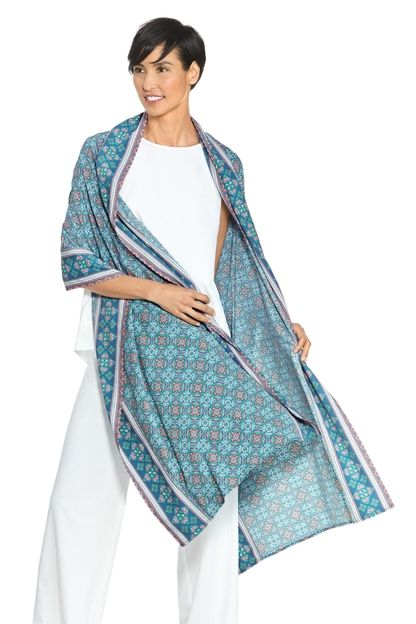 A beautiful sun protective shawl for your next vacation or party! You'll love how light-weight it is for packing and the UPF 50+ sun protection.