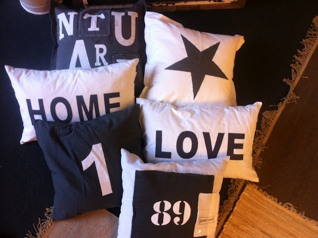 Home and Cottage: pillows with words, numbers, stars~love