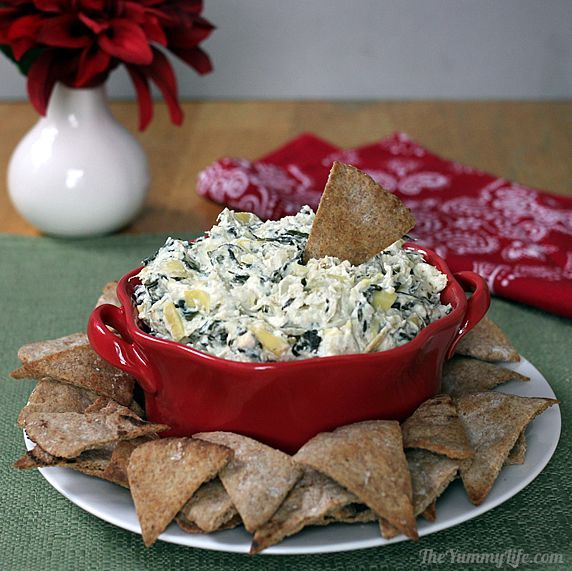 Healthy Spinach Artichoke Dip (Crockpot or Oven) from The Yummy Life