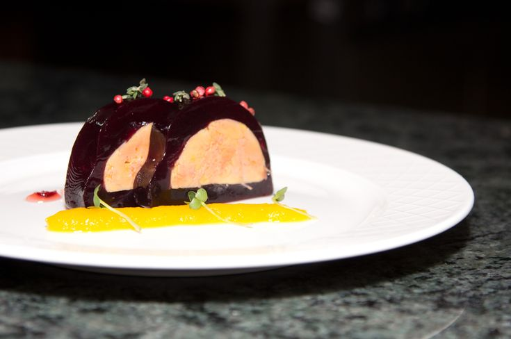 Smoked Goose Liver in Port Wine Gelly with Cranberry Jam