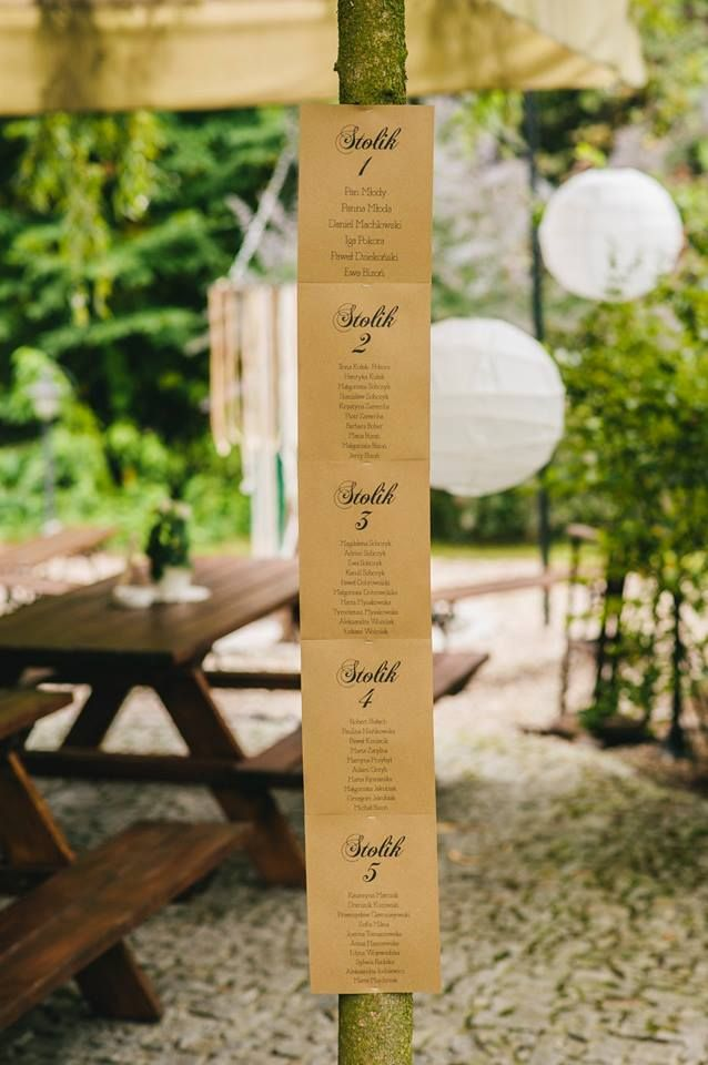 In stead of table numbers outside the wedding tent