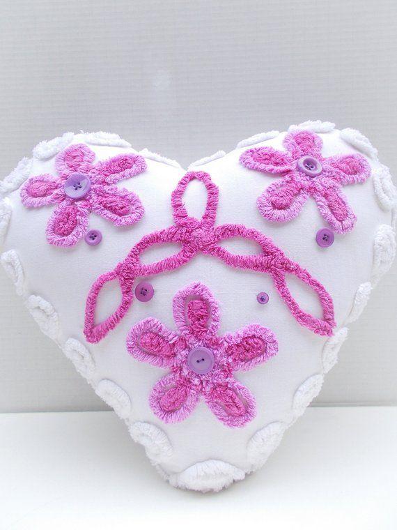 Chenille Pillow Heart Shaped Pillow Vintage Chenille Accent Etsy Chenille Pillow Cotton Pillow Handmade Pillows