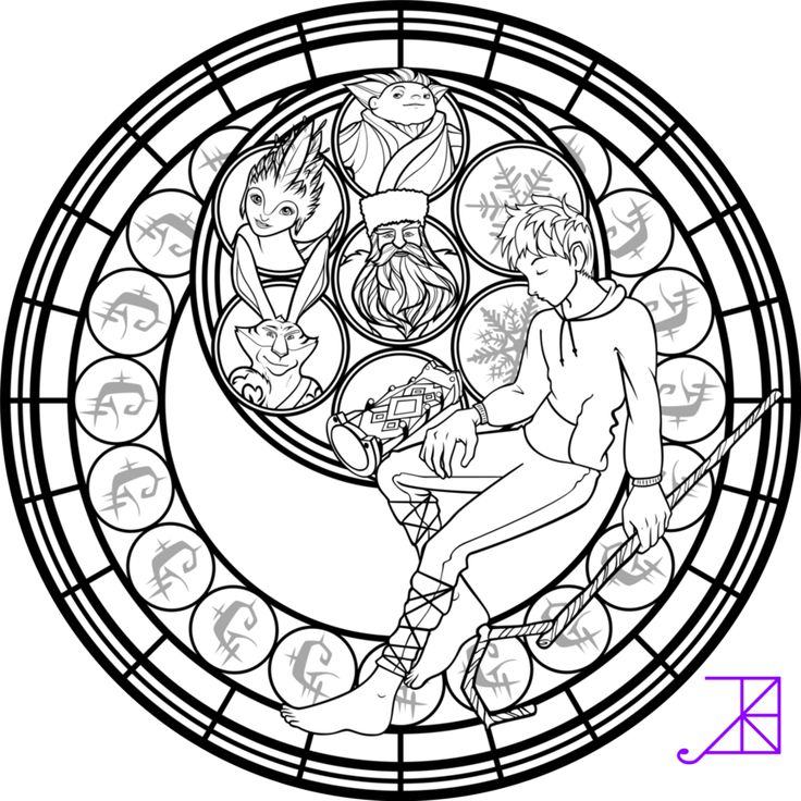 Jack Frost Stained Glass Coloring Page by Akili-Amethyst on DeviantArt