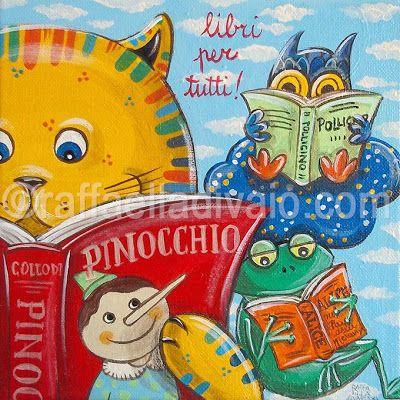 """raffaelladivaio*illustrazione e creatività 23 APRILE: Giornata Mondiale del Libro e della Lettura #ioleggoperché """"libri per tutti!"""" acrilico su tela, cm. 20x20 ©raffaelladivaio.com"""