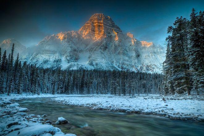 Morning light on Mt. Chephren // by Paul Goodwill, Calgary, AB
