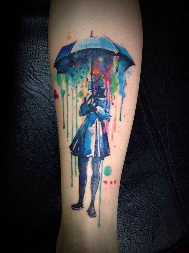 Watercolour tattoo by Victor Octaviano, Brazil. Where to get your watercolour tat? 28 different options! Ainda vou fazer uma com o Victor Octaviano!!!