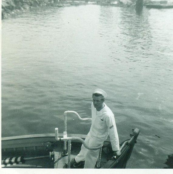 1956 Navy Sailor in White Uniform Standing in by AlaskaVintage