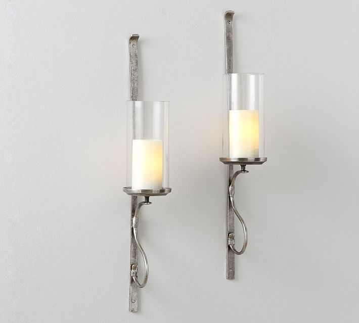 Artisanal Wall Mount Candleholder Silver Wall Candle Holders Silver Candle Sconces Candle Holder Wall Sconce