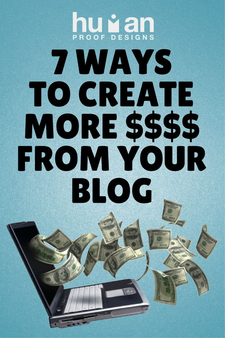 7 ways to monetize your blog with affiliate marketing, adsense, ecommerce, dropshipping, info products, productized services, building a list, and joint ventures.