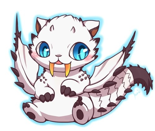 Monster hunter ice barioth, oh its cute now but wait til its 10x bigger than you and starts scratching your face off